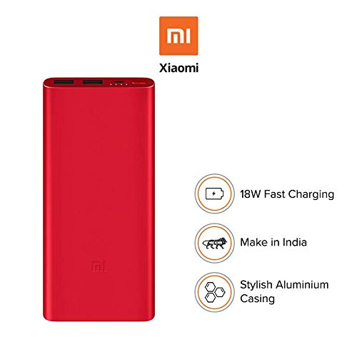 Mi 10000mAH Li-Polymer Power Bank 2i (Red) with 18W Fast Charging Image 2