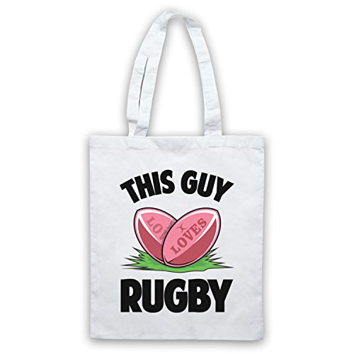 This Guy Loves Rugby Rugby Slogan Umhangetaschen Weis