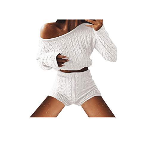 Kinlene Mode Sportanzug Crop Top Hosen Zweiteilige Outfit Yoga Trainings-Kleidung 2 STÜCK Frauen Damen Solide Schulterfrei Gestrickte Warme Loungewear Kurze Ernte Anzug Set