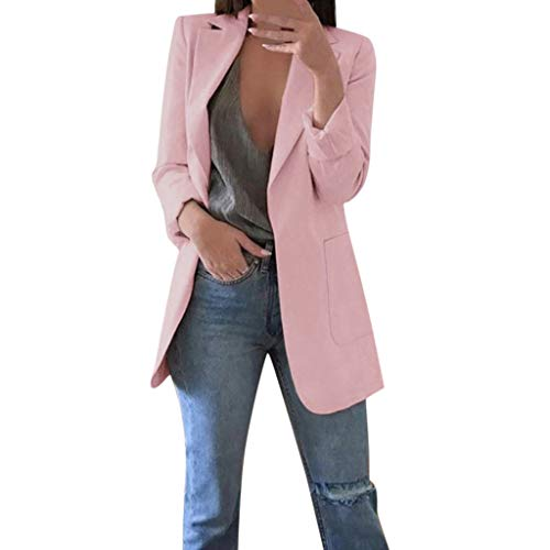 BASACA Damen BüRo Mantel Top Bluse Einfarbige Oberteile Herbst Winter Langarm Outwear Strickjacken Anzug Lange Jacke Pullover Mode (XXXL, Pink) (Old School Monster Kostüm)