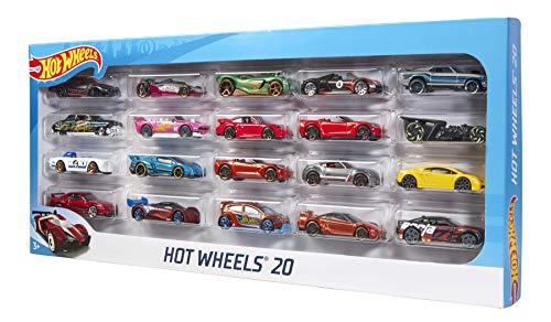 Hot Wheels H7045 - 1:64 Die-Cast Fahrzeuge, mittelgroßes Auto Geschenkset, je 20 Spielzeugautos, zufällige Auswahl, ab 3 Jahren, 20er Pack