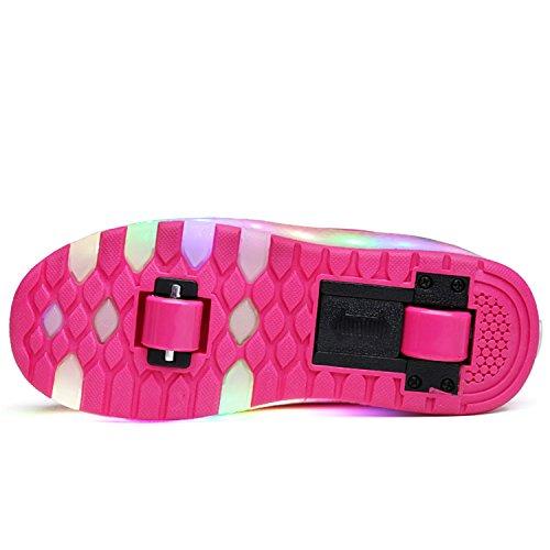 SGoodshoes Enfants Baskets LED Chaussures à Roulettes Sneakers Lumineuses Clignotante Chaussures de Sport avec Colorés Fille Garçon Rose 1 roue