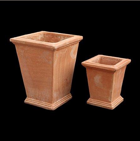 Classique Motif Santorin Crétoise faite à la main Pot en terre cuite/petite plantaire – géométrique – 35 x 28 x 28 cm