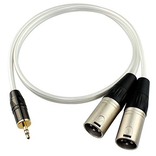 Haoweiwei Audio Line Perlglanzweiß 3.5 Drehen Sie die doppelte XLR-Steckkarte auf einen 3,5-Leitungsadapter und dann den Soundkartenmixer-Audiokabel (Size : 1.5m)