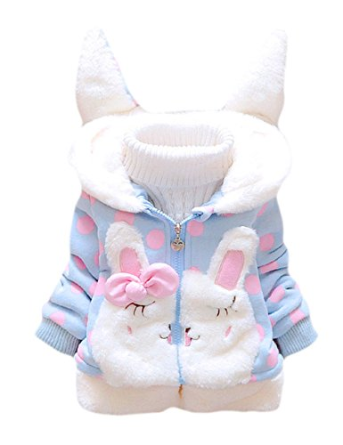 Tkria Kids Baby Gril Fleece Hooded Jackets Cartton Coat Winter hoodie Outerwear