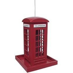 Tradicional rojo de cabina de teléfono de pájaro Feeder para colgar