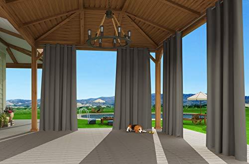 Clothink Outdoor Vorhänge mit Ösen 132x215cm Grau - Winddicht Wasserdicht Verdunkelungsvorhänge, Mehltau beständig, für Gartenlauben Balkon, Strandhaus Vorhalle, Pergola, Cabana