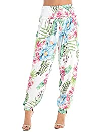 c06b55c2d8e6 Women Ladies Casual Floral Leaf Print Ali Baba Harem Trousers Leggings Size.  UK 8-