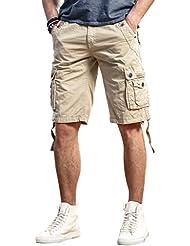 Harrms shorts cargo Hommes Fermeture éclair décontractée multi-poches Shorts d'été Taille de couleur variée