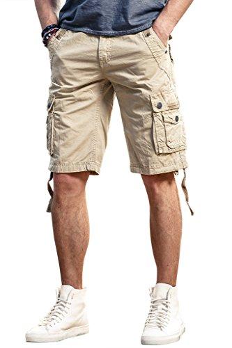 Herren Cargo Chino Shorts Casual Kurze Hose Tunnelzug 100% Baumwolle mit Multi-Taschen (Chino Polo Shorts)
