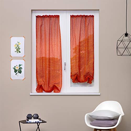 linea oro coppia tendine, tenda a vetro, tendina a vetro kimbra arancione cm 60x150