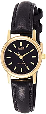 Casio Women's Black Dial Leather Band Watch - LTP-1095