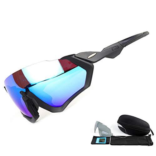 KnBoB Radbrille Herren Klar Fahrradbrille Fullface Schwarzer Rahmen Blau