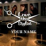 autocollant mural sticker mural Barber Shop Autocollant Nom Ciseaux Sèche-Cheveux Salon Sticker Neutre Coupe De Cheveux Affiche Mur Art Stickers Décor pour salon de coiffure