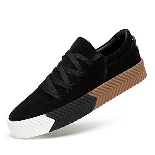 Uomo Moda Scarpe sportive Spessore inferiore Scarpe casual Aumenta le scarpe formatori Antiscivolo traspirante euro DIMENSIONE 38-44 Black
