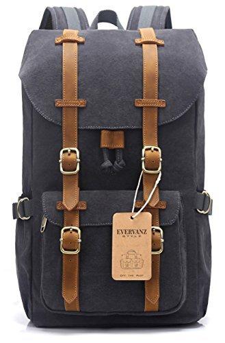 EverVanz Canvas Leder Rucksack Reise Wandern Outdoorrucksack Daypacks für 15 Zoll Laptop großer Rucksack für Schule (Travel Satchel Bag)