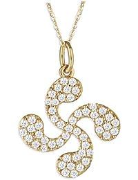 Talisman Jewellery-Colgante-Lauburu-CZ-Chapado oro-Mujer-Cadena incluida