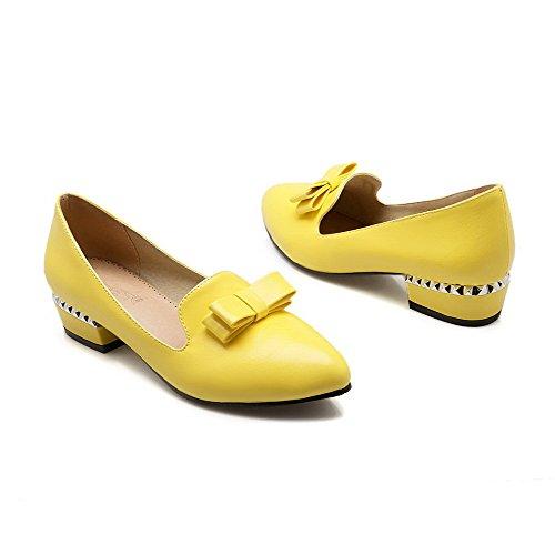 VogueZone009 Femme à Talon Bas Couleur Unie Tire Matière Souple Pointu Chaussures Légeres Jaune