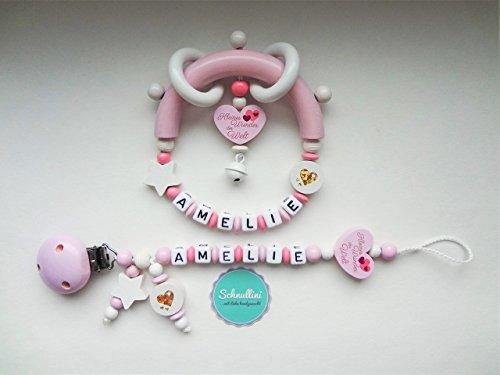 Schnullerkette mit Namen und Greifling Beißring Herz Kleines Wunder der Welt Gravur Geschenk Taufe Geburt individuell Stern | Mädchen rosa Namenskette