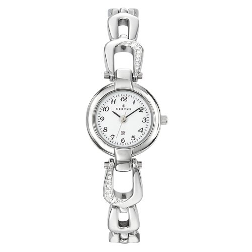 Certus Paris Women's 621409 Classic White Dial Crystals Brass Bracelet Watch