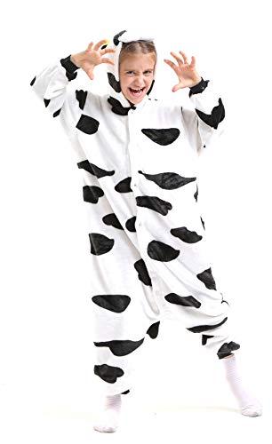 Kuh Ganzkörper Tier-Kostüm für Kinder - Plüsch Einteiler Overall Jumpsuit Pyjama Schlafanzug - Schwarz/Weiß - Größe 110-122 (Hersteller Gr. 105) (Kinder Kuh-pyjama Für)