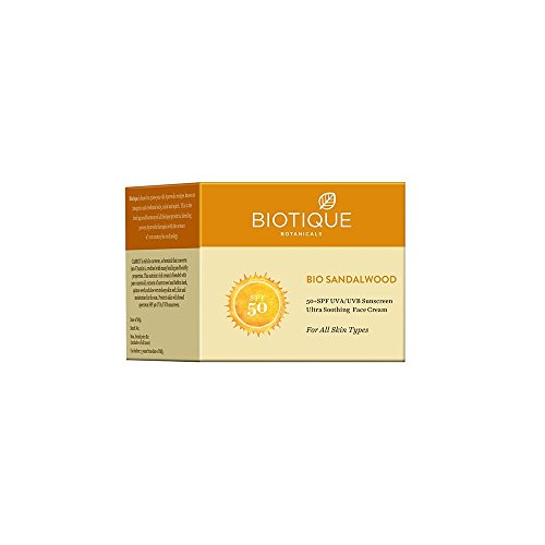 Biotique Bio Sandalwood Face & Body Sun Cream Spf 50 Uva/Uvb Sunscreen For All Skin Types In The Sun Very Water Resistant, 50gm -