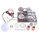 Foxom Motore Stirling, Bassa Temperatura, 2 Cilindri, con Generatore e LED, Stirling Engine Kit Fisica Giocattolo