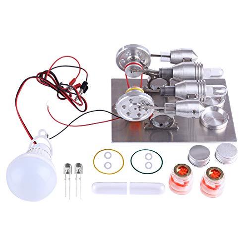 TETAKE Stirlingmotor, Sterling Motoren, Stirling Engine, Dampfmaschine Pädagogisches Spielzeug, 2 Zylinder, mit Generator, LED und Licht