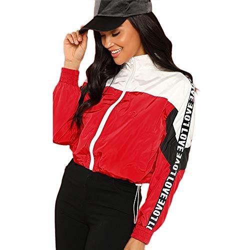 WLXFVNYBD Red Colorblock Zipper Jacke Windbreaker Plissee Streetwear Letter Print Jacke Damen Sportswear Mäntel & Jacken, S - Plissee-jacke