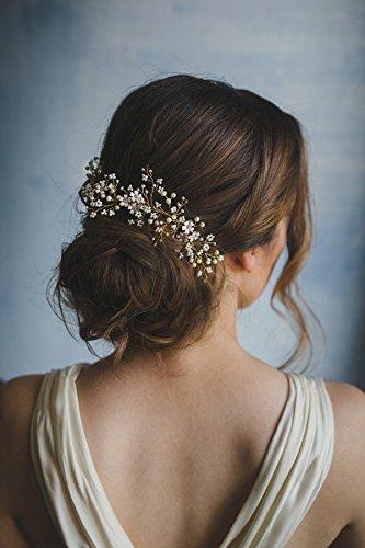 Kercisbeauty Handgefertigtes Haarband mit kleinen weißen Blumen und Perlen im Vintage-Stil, für Braut oder Brautjungfern - Brautschmuck; Stil: Frühling, Rebe; Party-Accessoires