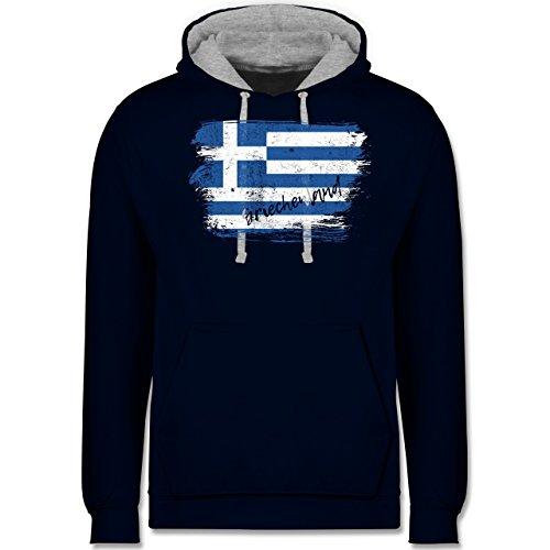 Shirtracer Länder - Griechenland Vintage - XXL - Navy Blau/Grau meliert - JH003 - Kontrast Hoodie