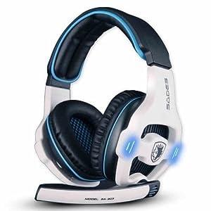 SADES SA903 7.1 Surround Sound Stereo Professionelle PC USB Gaming Headset Stirnband Kopfhörer Gaming mit Mikrophon, Tiefe Bässe, Over-The-Ear-Lautstärkeregler LED-Leuchten für PC Gamers (Weiß)