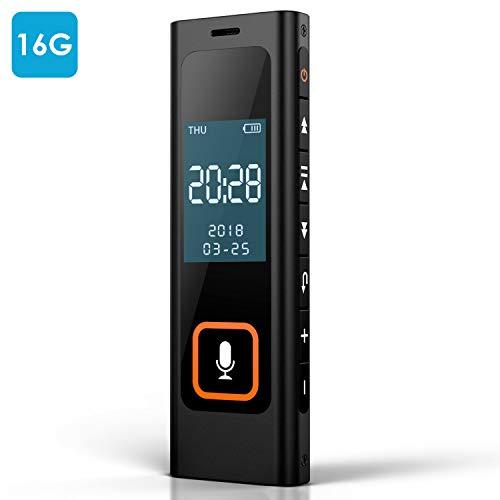 NEXGADGET Registratore Vocale Digitale 16GB Registratore Portatile Ricaricabile 1536 kbps Lettore...