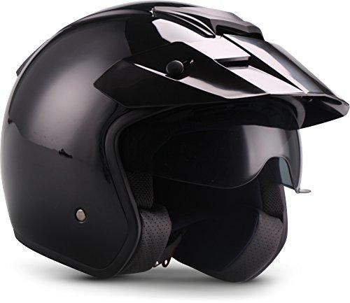 "Soxon  S77 \""Shiny Black\"" (Schwarz)  Jet-Helm  Chopper Motorrad-Helm Bobber Mofa Roller Scooter-Helm  ECE zertifiziert  Visier  Extra kleine Helmschale  Click-n-Secure Verschluss  XL (61-62cm)"
