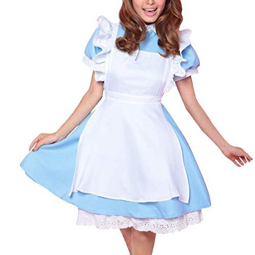 Minetom Alice Im Wunderland Anime Kellnerin Kostüm Lolita Kleider Dienstmädchen Outfit Blau