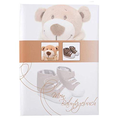 Goldbuch Babytagebuch, Trendbär, 21 x 28 cm, 44 illustrierte Seiten mit Pergamin-Trennblättern, Kunstdruck laminiert, Weiß/Braun, 11355