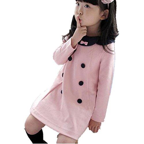 1-5 Jahr Kleinkind Kinder Prinzessin Kleid, DoraMe Baby Mädchen Warm Bowknot Brautjungfer Festzug Kleid Knopf Solide Kleid Lange ärmel Outfit Kleidung (Rosa, 4 Jahr) (Kleid Schwarzes 4-knopf-anzug)