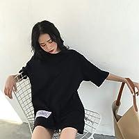 Oyamihin Mujer Camiseta Holgada BF Wind Diseño Informal Parches Bordado Camiseta de Manga Corta con Cuello en O Jersey para Uso Diario - Negro 2XL