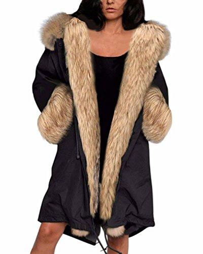 ZANZEA Donna Eco-pelliccia Cappotto staccabile Felpa con cappuccio Parka Giacca nero 48-50