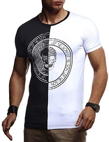 LEIF NELSON Herren Sommer T-Shirt Rundhals-Ausschnitt Slim Fit Baumwolle-Anteil | Basic Männer Totenkopf T-Shirt Crew Neck Hoodie-Sweatshirt Kurzarm lang | LN4395 Schwarz-Weiß X-Large