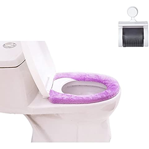 Antibatterico morbido calore del ispessimento telescopico Button-Type tavoletta Copri Wc, bagno porta rotolo WC in plastica ventosa montaggio a parete porta asciugamani di carta impermeabile Tissue Box Blue