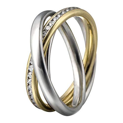 Heideman Bicolor Ring Damen aus Edelstahl poliert und vergoldet Damenring für Frauen Dreierring Crystal 64 sr2314-7-1-64