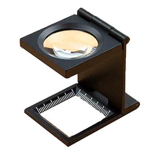 Wghz Lupe 10-Fach Klappspiegel Messtisch Halterung Beleuchtung LED-Lampe mit Skala Lupe