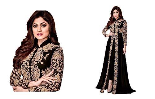 Mahantam Designer Prayosha Dashing Black Codding Embroidered Worked Anarkali Salwar Suit