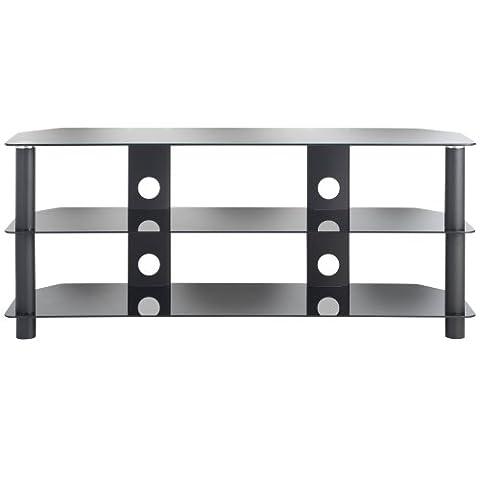 VonHausPlasma/LED/LCD/3D TV Rack Schrank Möbel Stand TV-Ständer Glas bis zu 50 Zoll oder 60Kg with Kabelsystem (Schwarz Glas-lcd-tv-ständer)