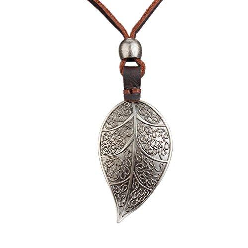 JOYMIAO Retro Big Folha Collar colgante Collar de cuero genuino para hombres y mujeres Medallón chapado en Silver antiguo