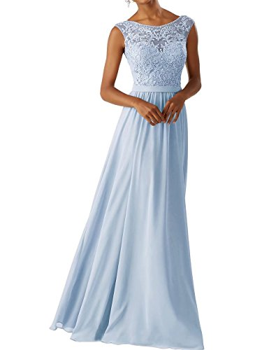 Frauen Chiffon Brautjungfer Kleider Sleeveless Lange Prom Abendkleider Hell Blau Größe 36