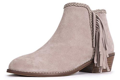 OZZEG faible talon cheville bottes femmes en cuir doublure chaude chaussures hiver en fourrure Rose