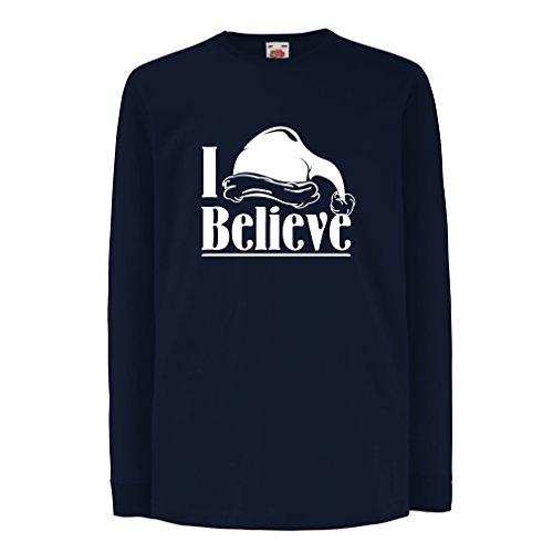 (lepni.me Kinder-T-Shirt mit Langen Ärmeln Ich glaube Santa Claus - Weihnachtszitate, Feiertagsausstattungen (14-15 Years Blau Mehrfarben))