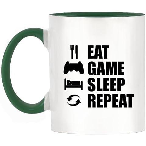 Comer dormir juego repetición (PS) diseño bicolor taza con Verde oscuro asa y interior
